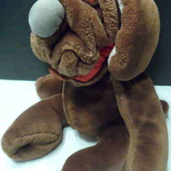 "Ganz Bros.""Wrinkles"" Hand Puppet VINTAGE 1981 Educational Plush Toy Stuffed Animal Dog Puppy Naked"