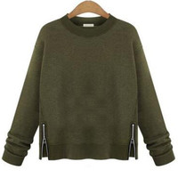 Army Green Zipper Design Sweatshirt