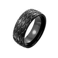Black Tracks - FINAL SALE A Tire Tread Pattern Black Stainless Steel Ring