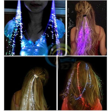 2 pcs LED Light-Emitting Fiber Optic Wire Hairpin Luminous Silk Braids [8833418956]