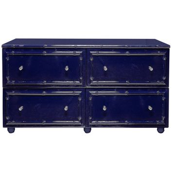 Emma 4-Drawer Lacquered Chest | Blue