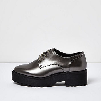 Silver chunky lace-up platform shoes - flat shoes - shoes / boots - women