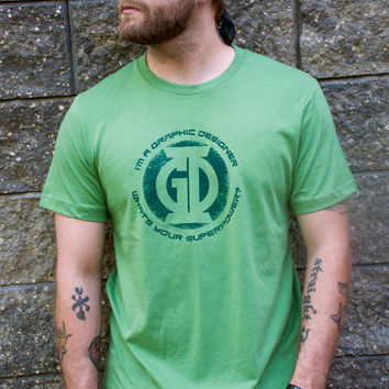 I'm a Graphic Designer - What's your Superpower? Men's t-shirt. Green Lantern