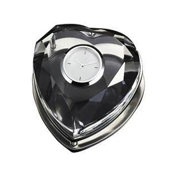 Personalized Free Engraving Heart Shape Fancy Black Crystal Clock