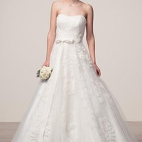 Sleeveless A-Line Long Off White Bridal Dress