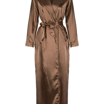 Khaki Lapel Tie Waist Sheer Sleeves Maxi Dress