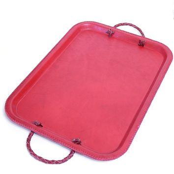 Baila | Red Tray with Braided Handles