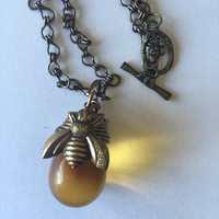 Honey Bee Necklace, Honey Glass Drop Necklace, Bee Necklace, Bee Lover Jewelry