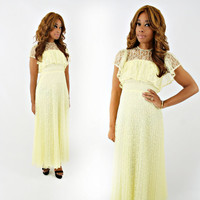vintage 60s 70s romantic LEMON yellow sheer LACE flutter sleeve maxi dress size XS/S