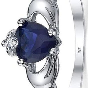 0.75 Carats Sterling Silver 925 Irish Claddagh Friendship & Love Simulated Sapphire Blue Heart CZ Cubic Zirconia Ring