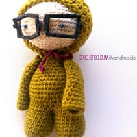 Amigurumi Nerd Puppet with glasses/ Crochet Doll/ Soft Toy