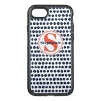 Blue and White Polka Dot Pattern | Red Monogram OtterBox Symmetry iPhone 7 Case