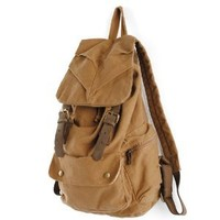 AM Landen Rucksack Canvas Backpack Genuine Leather Straps(Khaki)