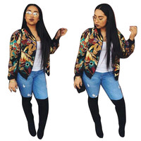 Abstract Printed Zip-Up Jacket in Black