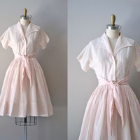 vintage 1950s dress / cotton 50s dress / Badinerie Shirtwaist