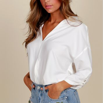 Intimidated Chic Henley Blouse white