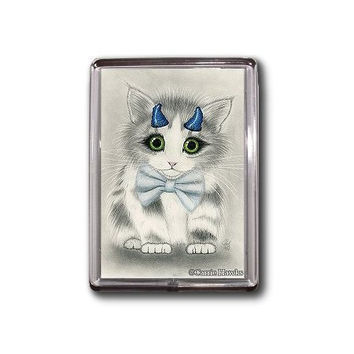 Devil Cat Magnet Cute Kitten Blue Horns Fantasy Cat Art Framed Magnet Cat Lovers Gifts
