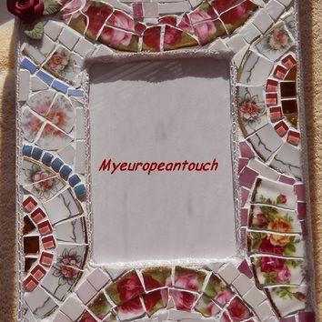 Handmade Shabby Chic Mosaic Picture Frame broken cut china plate rims stained glass handmade clay rose