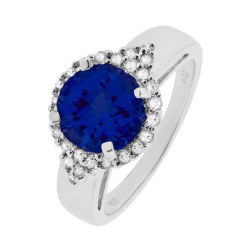 8mm Round Sapphire and White Topaz Halo Sterling Silver Ring Size 7