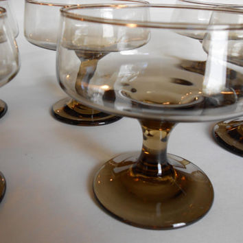 Mid Century Smokey Brown Glass Footed Pedestal Desert Cups 1970s Set of 6