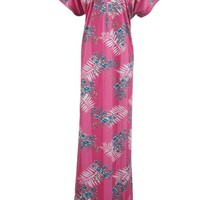 Womens Kaftan Caftan Beach Wear Cover up Pink Printed Maxi Dress X Large