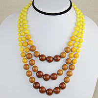 Three Rows Beaded Necklace,Yellow Layered Short Necklace,SALE