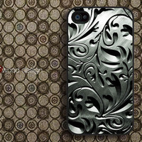Case for black iphone 4 case iphone 4s case iphone 4 cover classic metal  flowers graphic design printing