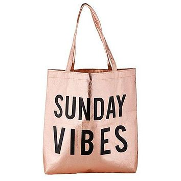 Sunday Vibes Tote Bag in Rose Gold