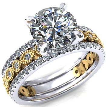 Lizette Round Moissanite 4 Claw Prong 3/4 Eternity Milgrain Diamond Shank Engagement Ring