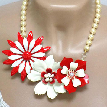 Red Statement Necklace for Women, Handcrafted Jewelry, Costume Jewelry Necklace, Chunky Necklace, Flower Bib Necklace, Pearl Necklace