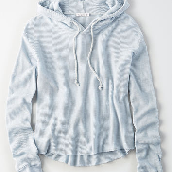 Don't Ask Why Waffle Hoodie, Soft Blue
