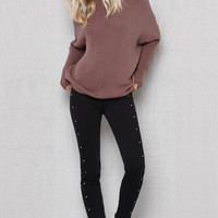 PacSun Sparkling Black Studded Mid Rise Skinny Jeans at PacSun.com