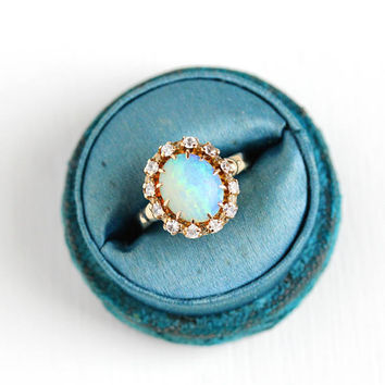 Vintage 10k Rosy Yellow Gold Opal & Created Spinel Halo Ring - Size 6 1/2 Late Art Deco 1940s Gemstone Fine Statement Jewelry