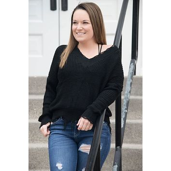 Distressed Sweater with Fringe - black
