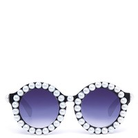 Round Pearl Sunglasses - Black from ROXX at ShopRoxx.com
