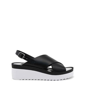 "Women's Black Italian Leather ""Ana Lublin TEODORA"" Wedges Sandals with White Rubber Soles"