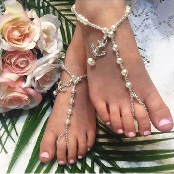 ANCHOR flower girl barefoot sandals
