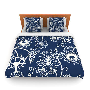 "Laura Nicholson ""Passion Flower"" Navy Floral Lightweight Duvet Cover"