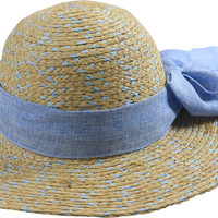 Wide Brim Natural Straw Sun Hat with Large Ribbon Accessory