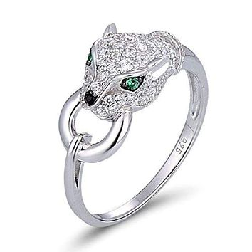 Panther Head Genuine 925 Sterling Silver Creative Ring Cubic Zirconia Fashion Ring
