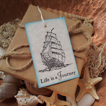 Nautical Ship Life is a Journey Tags Vintage Inspired Set of 6