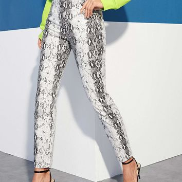 Slant Pocket Snakeskin Pants