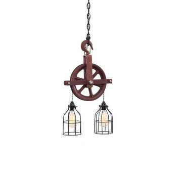 WEATHERED RED PULLEY LIGHT