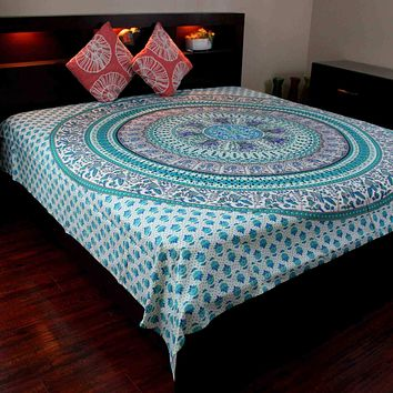 Elephant Mandala Tapestry Cotton Tablecloth Bedspread Throw Beach Sheet Turquoise
