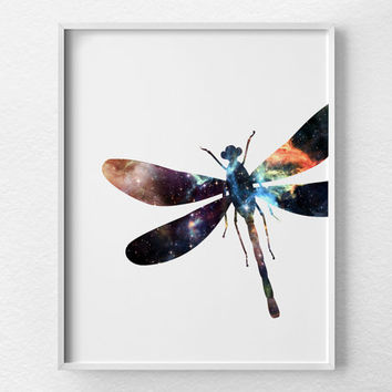 Dragonfly Wall Art, Dragonfly Art, Dragonfly Print, Insect Print, Insect Art, Dragonfly Decor, Nebula Art, Space Print, Nursery Art, 0387