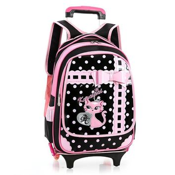New Kids Wheels Backpack Removable Trolley Backpack Wheeled Children School Bag Girls Travel Bags Children's School Backpacks