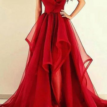 Red V Neck Ruffles Organza Prom Dress
