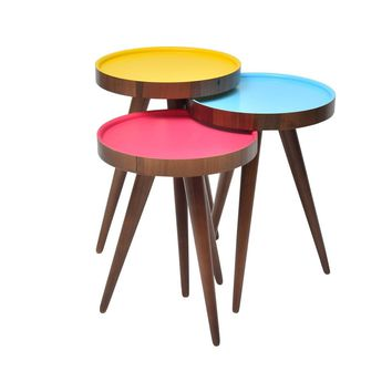 "TV Tray, Coffee Table Round Walnut Wood colourful 3 pcs. 15""X15""X H:24"""