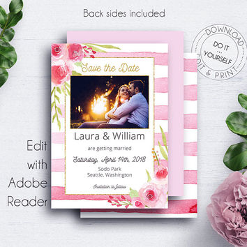 Blush Save the Date Photocard, Invitation, Rose, Floral, Save the Date Cards, Engagement Card,Save Date Template,PDF Photocard,Date Template