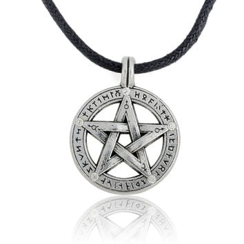 Antique Silver Supernatural Pentacle Pentagram Pendant Men Necklace Witch Protection Star Amulet Necklace Leather Rope Chain